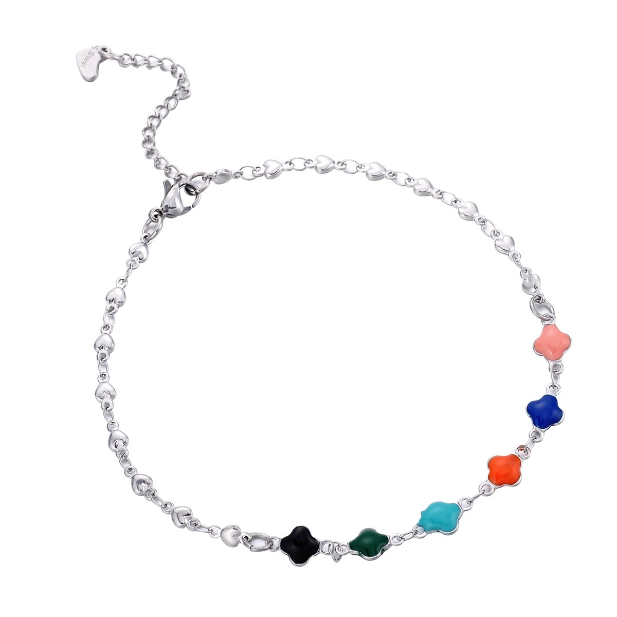 HooAMI Stainless Steel Multi-Colored Clover Heart Chain Anklet Bracelet Adjustable