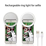 Selfie Ring Light for Camera, LeicesterCN Rechargeable Dimmable [36 LED] Lights Fill-in Lighting Portable Photography for iPhone iPad Sumsung Galaxy (White)