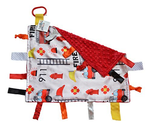 Educational Firefighter Baby Tag Blanket- Sensory - Ribbons Sewn Shut Into Tabs