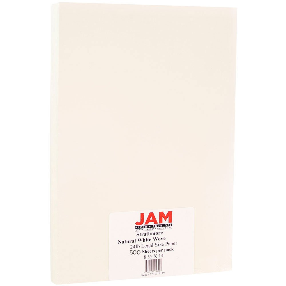 JAM PAPER Legal Strathmore 24lb Paper - 8.5 x 14 - Nautral White Wove - 500 Sheets/Ream
