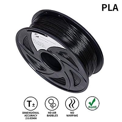 LEE FUNG 1.75mm PLA 3D Printing Filament Dimensional Accuracy +/- 0.05 mm 2.2 LB Spool DIY Material Tools (Black)