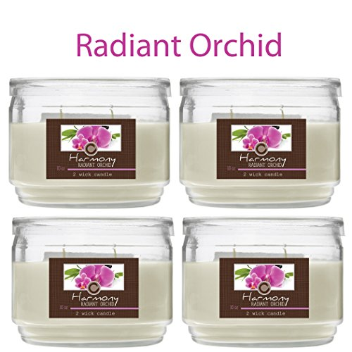 Hosley Set of 4 Radiant Orchid (Harmony) 2 Wick Candle, 10oz: Floral, Lemon Grass notes. Ideal Aromatherapy votive GIFT for party favor, weddings Spa Reiki, Meditation, Bathroom settings - Orchid Wedding Favors