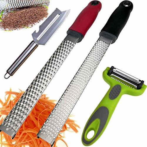 Zester Grater Peeler Peeling Knife (4pcs) for Stainless Steel Kitchen aid Utensil Gadgets Cheese Lemon Ginger Potato Citrus Fruit Vegetable Tool Set