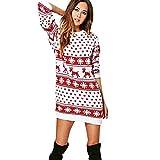 Jaysis Women Xmas Christmas Print Long Sleeve Mini Dress Santa Reindeer Wall Snowflake Costume Christmas Xmas Swing Dress