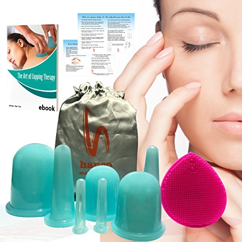 Cupping Therapy Set by Hanco w/ Facial Brush (8 pc. Kit) FREE E-book Anti Cellulite Face & Body Silicone Vacuum Cups Step By Step Guide: Traditional Chinese Cupping Pain Relief Fascia Blaster