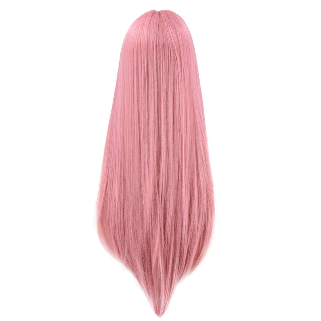 Wig,SUPPION Natural Straight Long Lace Front Synthetic Wig Fashion Women Pink Cute Wigs - 60cm - Cosplay/Party/Costume/Carnival/Masquerade (Pink)