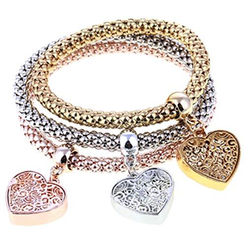 3 Pcs/Set Crystal Owl Heart Charm Bracelets Gold/Silver Plated Elephant Anchor Pendants Rhinestone Bracelets For Women SL830