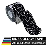 TheraBand Kinesiology Tape, Waterproof Physio Tape for Pain Relief, Muscle & Joint Support, Standard Roll with XactStretch Application Indicators, 2' X 10' Strips, 20 Precut Strips, Black/White