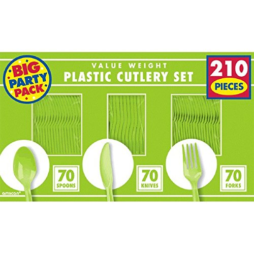 - Big Party Pack Kiwi Green Plastic Cutlery Set 210ct