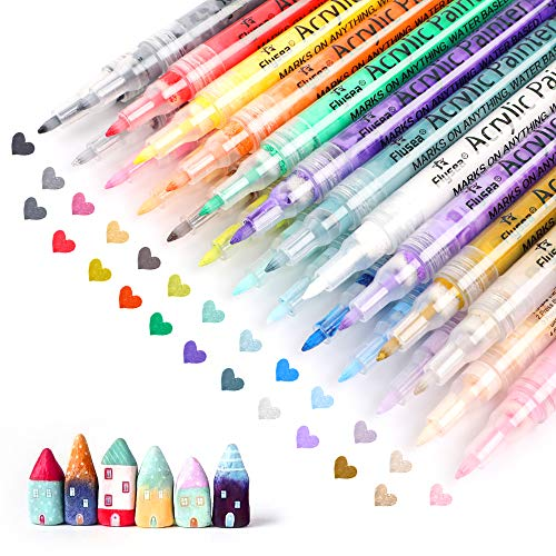 Set of 24 Acrylic Paint Pens 0.7 mm for Rock Painting, Ceramic, Porcelain, Glass, Stones, Pebbles, Fabric, Wood & DIY Mug Design. Permanent Water Based Medium Tip Marker Pen