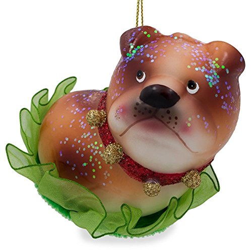 BestPysanky Bulldog Puppy Blown Glass Christmas Ornament 3.5 Inches