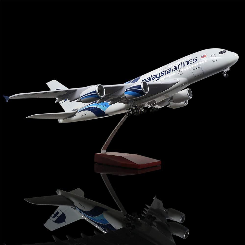 超安い品質 LESES マレーシア 1:160スケール LEDライトモデル 飛行機 マレーシア 380 エアバス 380 18インチ 樹脂ディスプレイ飛行機モデル LESES B07KTNXXZQ, 港南区:598079cb --- wap.milksoft.com.br