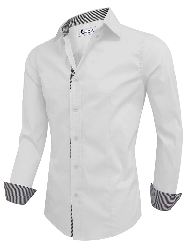 TAM WARE Men Casual Slim Fit Inner Striped Longsleeve Shirt