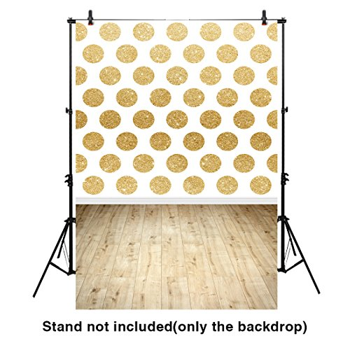 Oak Plank Classics (Funnytree 5X7FT Polyester Backdrop Golden Sequin Polka Dots Oak Plank Floor White Wallpaper Background for Children Photography)