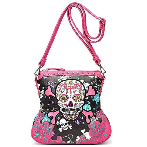 Sugar Skull Day of the Dead Cross Bone Concealed Carry Purse Women Cross Body Handbag Shoulder Bag (Fuchsia Crossbody ()