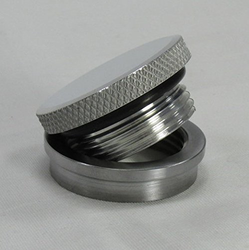 (VENTED OR NON-VENTED Motorcycle Polished Aluminum Gas/Fuel Tank Cap Knurled - Steel Stepped Bung - Custom Harley Chopper Bobber Cafe Racer)