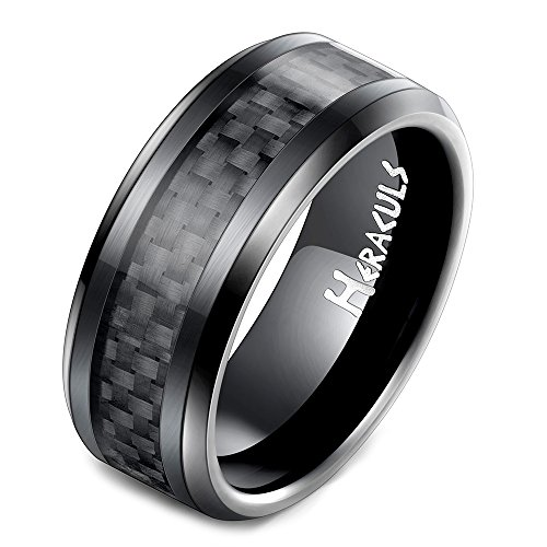 HERACULS 8MM Tungsten Carbide Ring for Man Black Carbon Fiber Inlay Polish Edges Wedding Engagement Band Ring Size - Tungsten Ring Wide 8mm