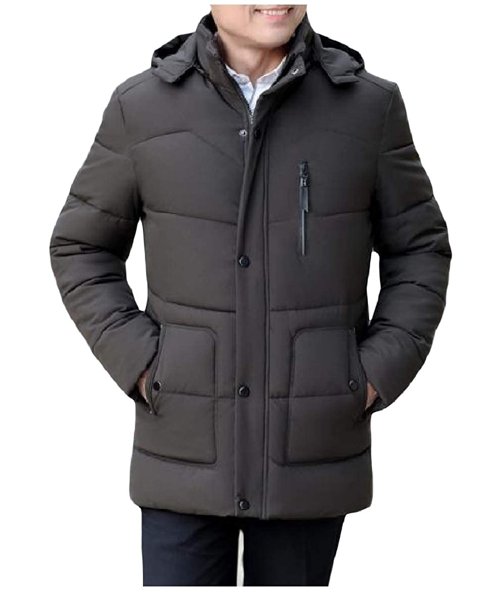 SayahMen Plus Velvet Detachable Hood Regular-Fit Keep Warm Zip-up Winter Thick Coat