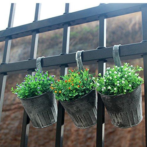 SHZONS Flower Pots, 6pcs Metal Iron Hanging Flower Plant Pots Balcony Garden Plant Planter Baskets Fence Bucket Pots Flower Holders