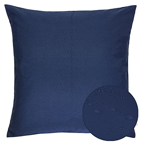 Homey Cozy Outdoor Throw Pillow Cover, Classic Solid Navy Blue Large Pillow Cushion Water/UV Fade/Stain-Resistance For Patio Lawn Couch Sofa Lounge 20x20, Cover Only