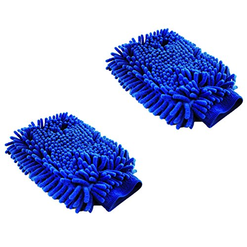 Show Finish Large Double-Sided Chenille Microfiber Car Wash Mitts, 11 in. x 7 in, Dark Blue (Chenille Finish)