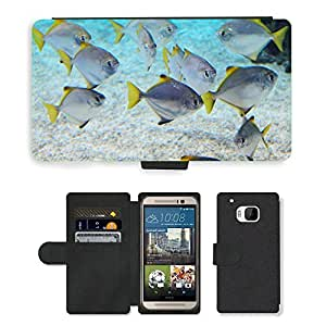 PU LEATHER case coque housse smartphone Flip bag Cover protection // M00117473 Animal Animales Acuario Blue Coral // HTC One M9