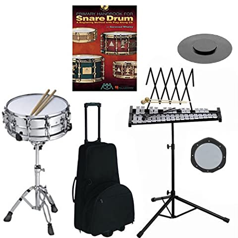 Band Directors Choice Complete Student Snare Drum Kit/Bell Kit Pack w/Stand, Wheeled Double Carry Bag, Drum Practice Pads & Sticks & Primary Method for Snare Drum Book