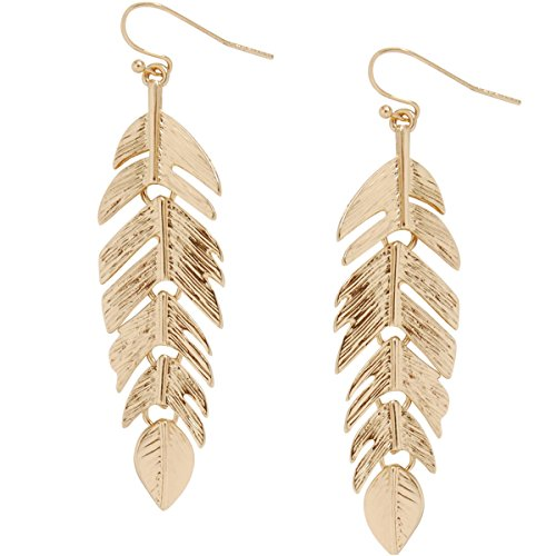 - Humble Chic Floating Feathers Dangle Earrings - Long Hanging Metal Link Leaf Drops, Gold-Tone
