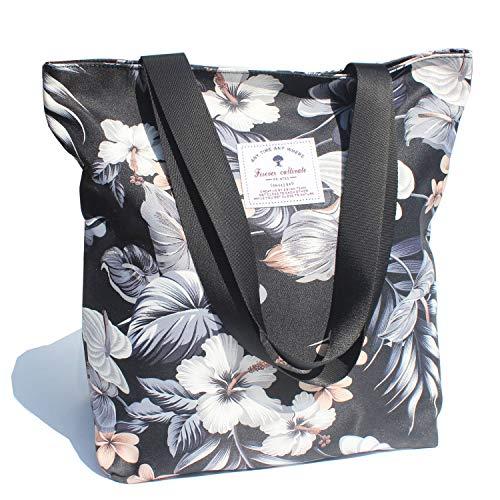 Waterproof Tote Bag,Original Floral Leaf Lightweight Fashion Shoulder Bag Lunch Bag for Shopping Yoga Gym Hiking Swimming Travel Beach ([X] Floral Leaf) (Zip Easy Tote)