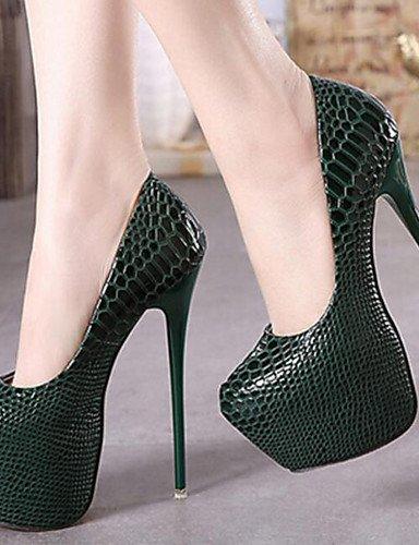 GGX/Damen Schuhe PU Fall, Round Toe Heels Party & Abend/Kleid Stiletto Heel-schwarz/grün/mandel/Burgund black-us5 / eu35 / uk3 / cn34