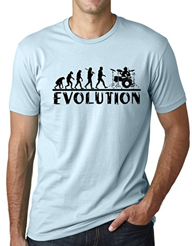 Evolution Light T-shirt - Think Out Loud Apparel Drummer Evolution Funny T-Shirt Musician Drums Humor Tee Light Blue XL
