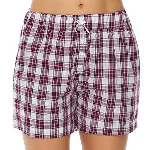 (Hawiton Women's Plaid Cotton Sleeping Pajama Shorts Lounge Boxer Drawstring Bottoms Red)