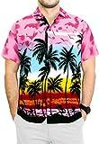 LA LEELA Men's Beach Classic Hawaiian Shirt Short Sleeves Button Up S Pink_W139