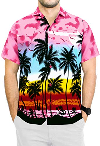 LA LEELA Men's Beach Classic Hawaiian Shirt Short Sleeves Button Up S ()