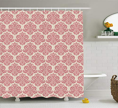 Lunarable Dusty Rose Shower Curtain by, Antique Damask Motifs Ornate Victorian Feminine Pattern Old Fashioned Revival, Fabric Bathroom Decor Set with Hooks, 70 Inches, Rose ()