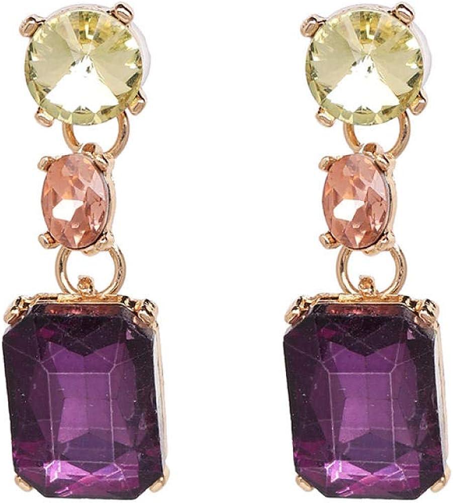 Mingxin Aretes Aretes De Diamante De Mujeres De Moda De Aleación De Piedras Preciosas Con Gancho De Oreja Simple