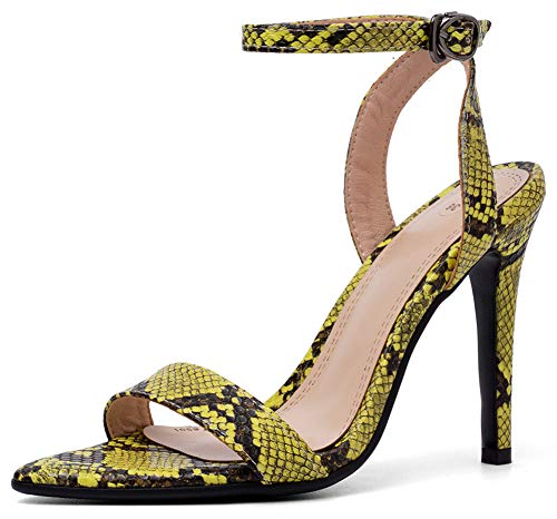 Mofri Women's Sexy Ankle Strap Snakeskin Heeled Sandals
