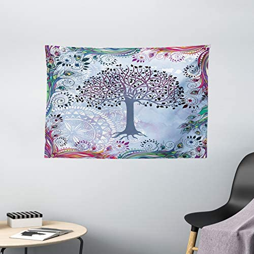Ambesonne Nature Tapestry, Tree of Life Motif Peacock Feathers Tribal Vintage Prehistoric Flora Illustration, Wide Wall Hanging for Bedroom Living Room Dorm, 60 X 40 , Blue