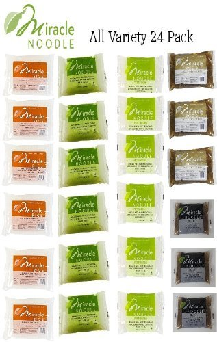 Miracle Noodle All Variety 24 Pack - 6 of Each - Shirataki Angel Hair Pasta, Shirataki Fettuccini Pasta and Shirataki Miracle Rice 3 Each of Garlic and Herb and Black Fettuccini by Miracle Noodle by Miracle Noodle
