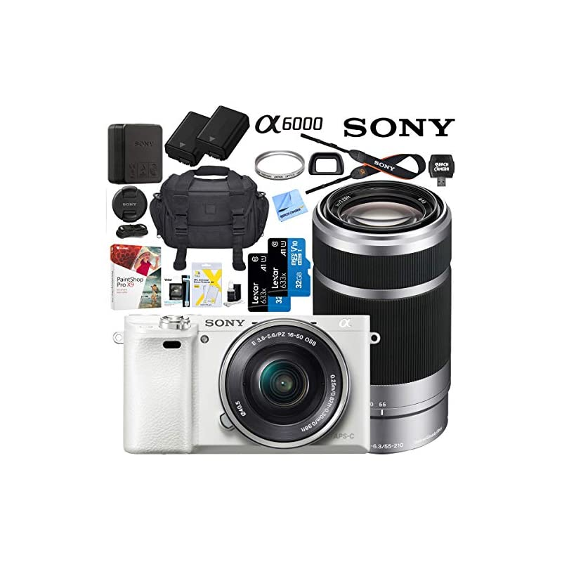 Sony Alpha a6000 Mirrorless Digital Camera with 16-50mm & 55-210mm Lens (White) ILCE-6000L/W with Extra Battery Case + 2X Lexar Professional 633x 32GB SDHC/SDXC UHS-I Card Bundle