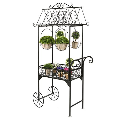 Large Black Metal Freestanding Scrollwork French Trolley Cart Plant Stand w/ 4 Hanging Flower Pot Baskets by MyGift