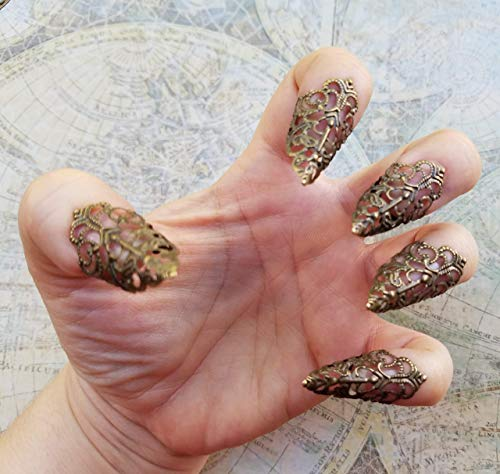 5 Brass Nail Armour Rings, Cosplay Accessories, Short Sharp Nail Claws, Stiletto Nail Rings, Vampire Nails, Costume Nails, Dragon Nails]()