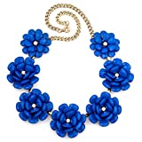 Q&Locket Colorful Chunky Flower Bib Choker Statement Necklace For Women (Blue)