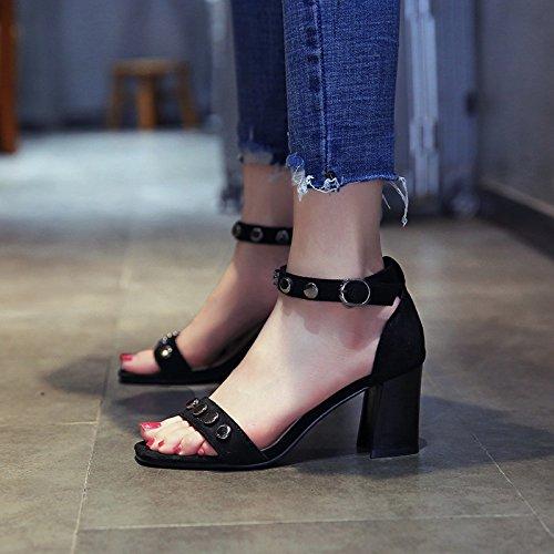 YMFIE de de los los con Señoras talón Altos a Tacones el Dedos Sandalias Moda Tobillos de Square Verano Zapatos de wTqwr6WPR