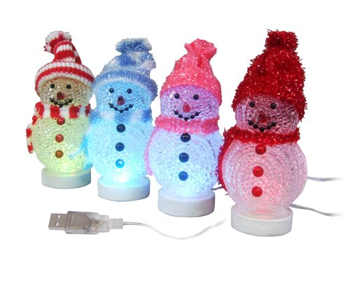 Labara Christmas Decoration Usb Light Emitting the Snowman Usb Christmas Tree Light Emitting Multicolour Usb Christmas Snowman Luminous (Cap-red&white)