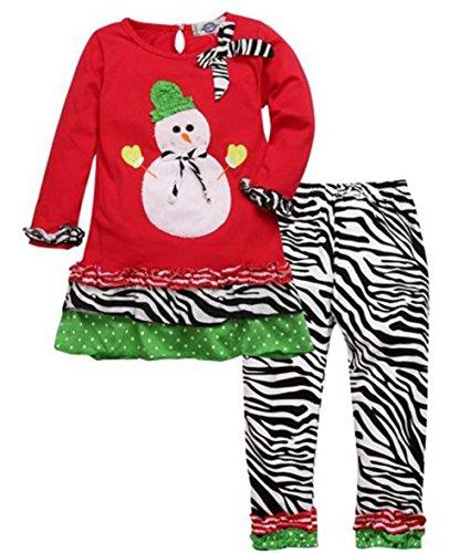 Baby Girls Christmas Snowman Top Stripe Leggings Pantas 2PCS Outfits Set size 130/7-8 Years (New Girls Christmas Holiday Snowman)