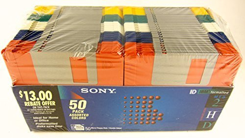 50 Pack Sony Floppy Disk Diskettes 3.5'' MFD-2HD Assorted Colors IBM Formatted by Sony