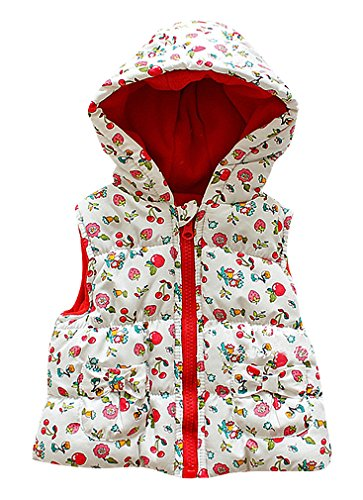 Pupik, Baby Girls Quilted Fruit Flowers Print Red Lining Zipped Hooded Puff Vest, White 9-12 Months