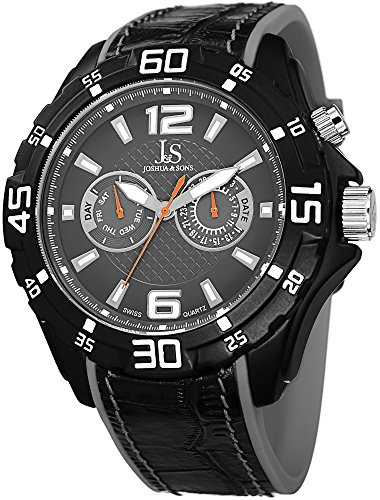 Joshua & Sons Men's JS79GY Swiss Quartz Multifunction Grey Leather & Rubber Layered Strap Watch
