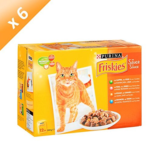 Friskies aux Viandes et aux Poissons en Sauce - 12 x 100 g - Sachets Fraîcheur pour Chat Adulte - Lot de 6 Friskies Chat